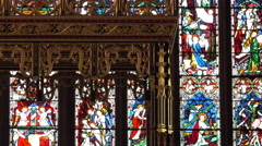 Carlisle Cathedral England zoom from stained glass window to altar 4K Stock Footage