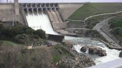 American River dams, Folsom and Nimbus , pan left - stock footage