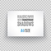 Blank sheet of paper with page curl and shadow, design element - stock illustration