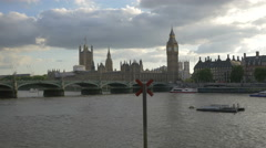Westminster Palace seen from The Queen's Walk in London Stock Footage