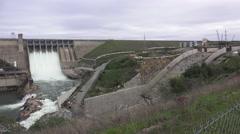 American River dams, Folsom and Nimbus, pan left Stock Footage