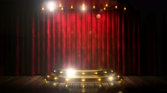 Red curtain stage with golden podium and loop lights Stock Footage