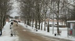 Alley in the Park. People are walking. Winter Stock Footage