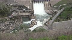American River dams, Folsom and Nimbus, tilt up - stock footage