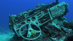 Underwater car wreck - Toyota reef, Blue bell cargo shipwreck - Red sea, Sudan - stock footage