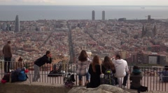 Young people enjoy aerial Barcelona from top point, observation deck Stock Footage