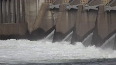 American River dams, Folsom and Nimbus, zoom out spillway Stock Footage