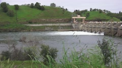 American River dams,   Nimbus dam ,green landscape Stock Footage