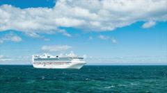 Golden Princess Cruise Ship Anchored at Sea Wide Shot Stock Footage
