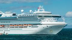 Golden Princess Cruise Ship Anchored at Sea Close-up Panning - stock footage