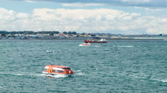 Punta Arenas Tenderboats Transporting Passengers Between Cruise Ships and Land Stock Footage