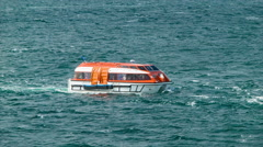 Cruise Ship Tender Boat in Choppy South American Pacific Water Stock Footage