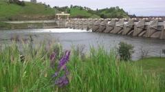 American River dams, pan left Nimbus - stock footage