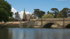 close up the bridge and church at ross in tasmania, australia - stock footage