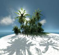 Sea, tropical island, palm , sun Piirros