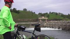 American River dams,  Man on bike Nimbus Stock Footage