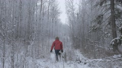 4k Girl In Red Walking Through Snow Covered Forest Stock Footage
