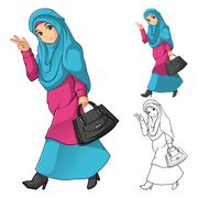 Muslim Girl Fashion Wearing Green Veil or Scarf with Holding a Black Bag - stock illustration