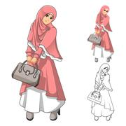 Muslim Woman Fashion Wearing Pink Veil or Scarf and Dress Outfit Stock Illustration