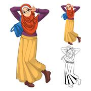 Muslim Woman Fashion Wearing Orange Veil or Scarf with Blue Bag and Skirt Outfit - stock illustration