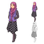 Muslim woman fashion wearing purple veil or scarf with jacket and line skirt Stock Illustration