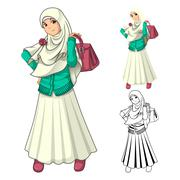 Muslim Girl Fashion Wearing Veil or Scarf with Holding a Bag and Dress Piirros