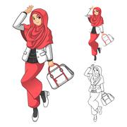 Muslim Woman Fashion Wearing Pink Veil or Scarf with Holding a Bag Stock Illustration