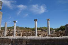 Doric columns on the collonaded street Stock Photos
