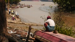 Myanmar river coastline with Yangon port view slow motion Stock Footage