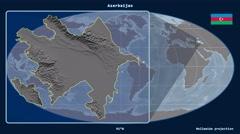 Azerbaijan - 3D tube zoom (Mollweide projection) Stock Footage