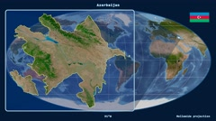 Stock Video Footage of Azerbaijan - 3D tube zoom (Mollweide projection). Satellite