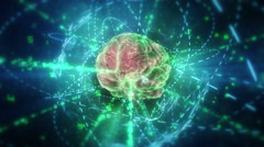 Human brain (with neurons) in cyberspace. - stock footage