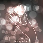 Stock blurred texture with bokeh effect and stylized hand in a graceful gesture - stock illustration