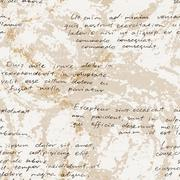 Vector seamless pattern with a hand-written Latin text on the old dirty paper - stock illustration