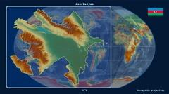 Azerbaijan - 3D tube zoom (Kavrayskiy VII projection). Relief - stock footage