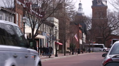Downtown Annapolis Street by State House Stock Footage
