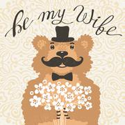 Be my wife. Hipster bear with an offer of marriage. Vintage card in cartoon - stock illustration