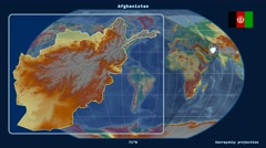 Afghanistan - 3D tube zoom (Kavrayskiy VII projection). Relief Stock Footage