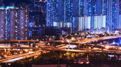 Highway transportation system in city at night. Concrete jungle video background Stock Footage