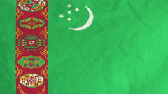 Turkmen flag waving in the wind (full frame footage) Stock Footage