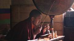 Buddhist monk in tibet festival at Lamayuru Gompa, Ladakh, North India Stock Footage