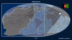 Afghanistan - 3D tube zoom (Mollweide projection). Bumps Stock Footage