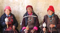 Stock Video Footage of Tibetan old women in  Buddhist festival at Lamayuru Gompa, Ladakh, North India