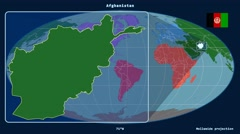 Afghanistan - 3D tube zoom (Mollweide projection). Continents - stock footage