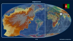 Afghanistan - 3D tube zoom (Mollweide projection). Relief - stock footage