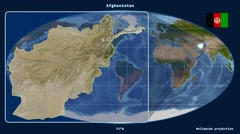 Afghanistan - 3D tube zoom (Mollweide projection). Satellite - stock footage