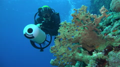 Scuba diver swims with an underwater scooter or DPV along the coral reef Stock Footage