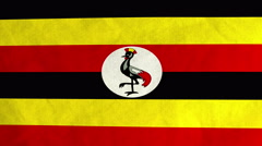 Ugandan flag waving in the wind (full frame footage) Stock Footage