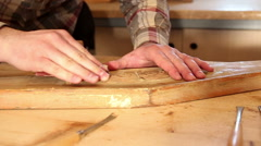 Close up of carpenter sanding old furniture. Stock Footage