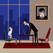 Boss shouting on his employee in office - stock illustration